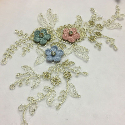 Multi Design Bridal Floral Lace Emboidery Applique Wedding Lace Motif Per Piece