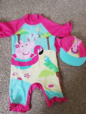Girls Peppa Pig Swimming Suit All In One With Matching Hat 18-24 Months Swimwear