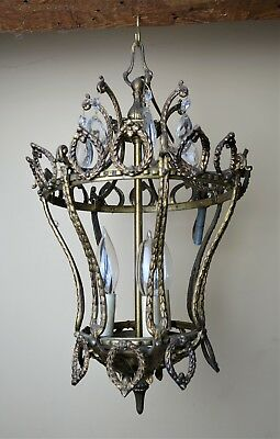 Antique Victorian Ornate Brass Hanging Lamp Light Fixture With Prisms