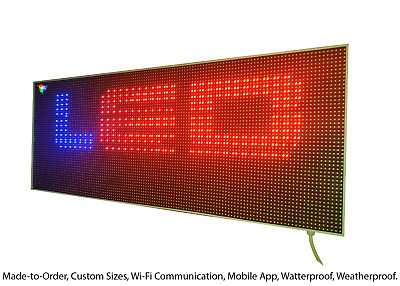LED Sign Scrolling Message Board Programmable - Full Colour Outdoor WiFi