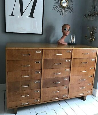Mid Century Vintage  Retro French SchoolChest of Drawers. Larger Sized