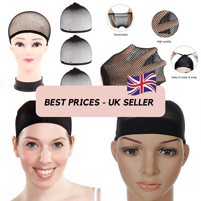 Wig Cap Black Breathable Stocking Nylon Stretch Hair Liner Unisex Pack of 2