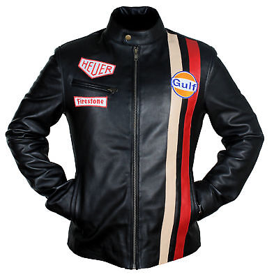 Mens Steve McQueen Le Mans White Gulf Racing Style Stripes black Leather Jacket