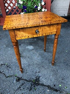 Antique American-Sheraton Stand Circa 1800s Tiger & Birdseye Maple1 Drawer Stand
