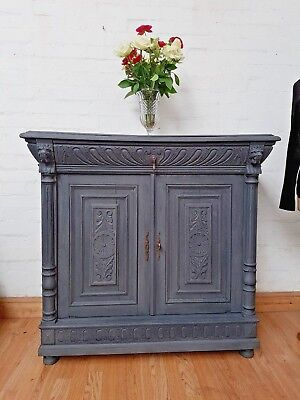 Striking Antique French Carved Painted Oak Sideboard - C1940