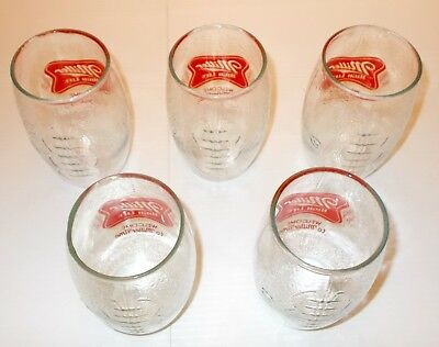 5 Vintage Miller High Life Football Shaped Collectible Beer Glass Set