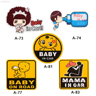 534A BabyonBoardSafety Sign Decal Bright Big Bold Block Letter Plastic Yellow