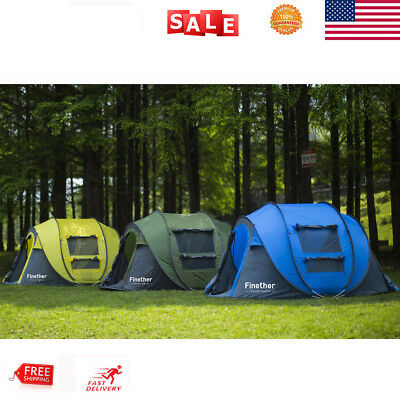 5-Person 3 Season Pop Up Tent Beach Anti Hard Rain Big Family Camping Tent New
