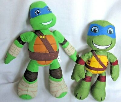 2 Ninja Turtle Stuffed Toys 8 Inch & 10 Inch Doll  2014 & 2016 Pre-Owned