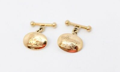 An Pair of Good Quality Antique Victorian 15ct Rose Gold Crested Cufflinks