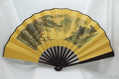 Vintage Chinese Palace Bamboo Fabric Coated Paper Hand Folding Fan Home Decor #1