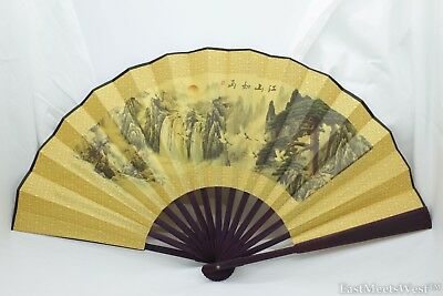 Vintage Chinese Palace Bamboo Fabric Coated Paper Hand Folding Fan Home Decor #2