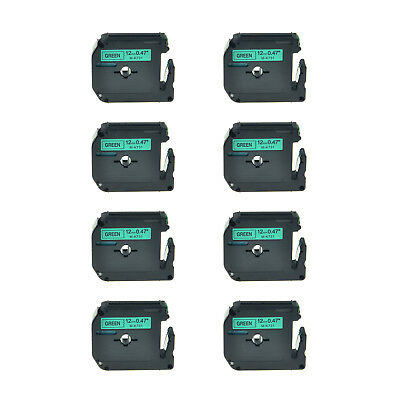 """8PK 1/2"""" Black on Green Lable Tape MK731 M-K731 M731 For Brother P-touch 110 55S"""