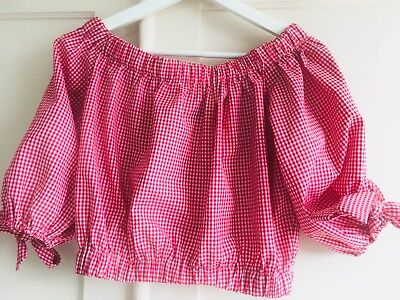 15e2211476d ZARA womens red and white gingham off shoulder crop top size small with bow  VGC