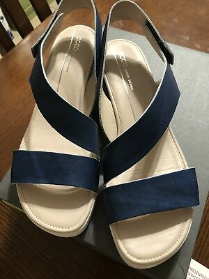 6554af6ee4b8 ECCO TOUCH SANDAL PLATEAU WOMENS LEATHER Indigo Size 10 10.5 41 NIB MSRP   150
