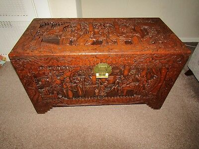 Superb Solid Antique Chinese Carved Camphor Wood Chest Luggage Trunk Table