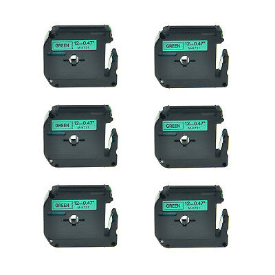 """6PK 1/2"""" Black on Green Lable Tape M731 MK731 M-K731 For Brother P-touch 80 90"""