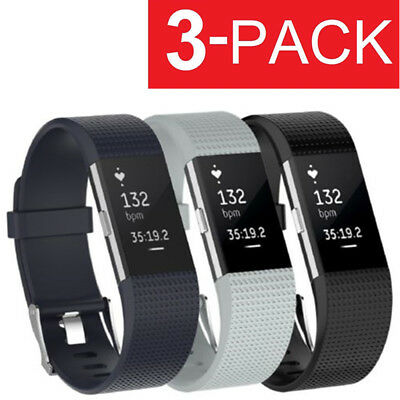 3 PACK for Fitbit Charge 2 Replacement Bracelet Watch Band Heart Rate Fitness
