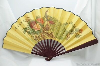 Vintage Chinese Palace Bamboo Fabric Coated Paper Hand Folding Fan Home Decor #7