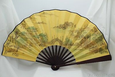 Vintage Chinese Palace Bamboo Fabric Coated Paper Hand Folding Fan Home Decor #8