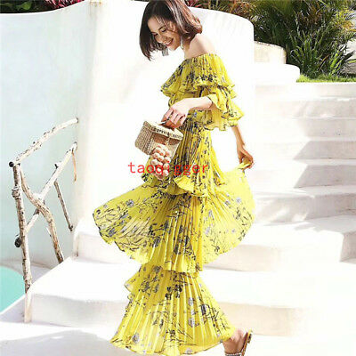 82c816dd2a Women s Maxi Dress Sexy Long Off the Shoulder Floral Printed Tiered beach  Dress