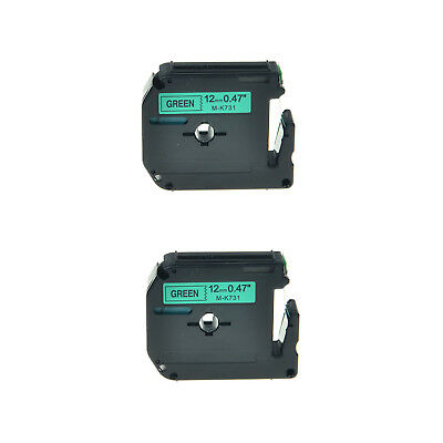 2PK 1/2'' Black on Green Lable Tape M731 MK731 M-K731 For Brother P-touch 65SCCP