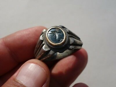 ancient Roman solid silver intaglio & gold round ring with dolphin and trident