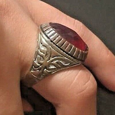 Antique Ancient VIKING Bronze Ring With Red Stone museum quality artifact