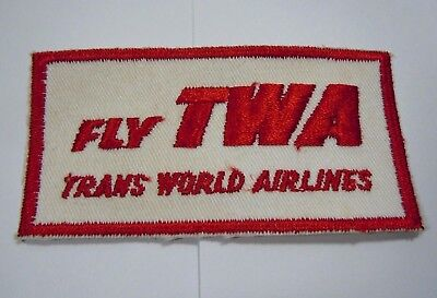 """Fly TWA Trans World Airlines Vintage Airline Embroidered Patch 4"""" x 2"""""""