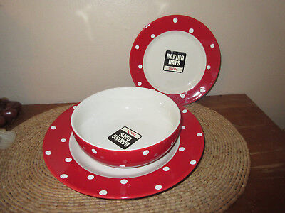 SPODE BAKING DAYS Red with White Polka Dots Large Salad Bowl ...