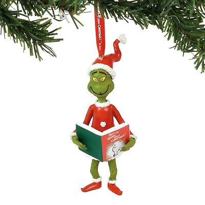 Department 56 The Grinch Grinch with The Book Hanging Ornament New 2018