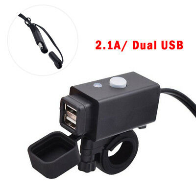 Motorcycle SAE to USB Cable Charger Adapter 2.1A Dual Port Power Socket Durable