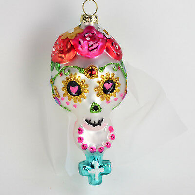 Glass Day of the Dead Sugar Skull Woman Christmas Halloween Ornament  A21