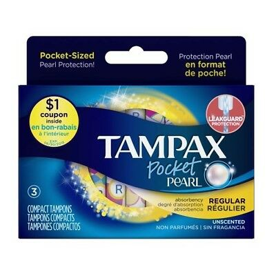 Tampax Pocket Pearl Regular Unscented w/ Leakguard - 3 Compact Tampons