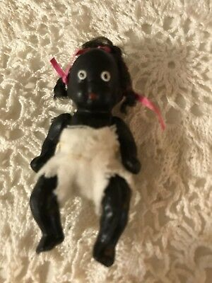 Vintage Black Americana Jointed Bisque Baby Doll Japan ~ 3""