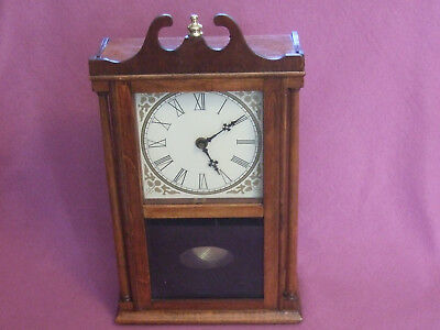 Vintage Antique Traditional Mantel Pendulum Electric Clock In Nice Wooden Case
