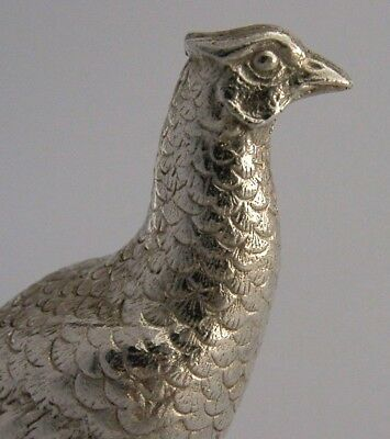 SILVER PLATED ENGLISH PHEASANT GAME BIRD ANIMAL c1950 ANTIQUE HUNTING SHOOTING