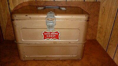 """Vintage Little Brown Ice Chest 1950s Double Walled Insulated Cooler 16x12x10"""""""