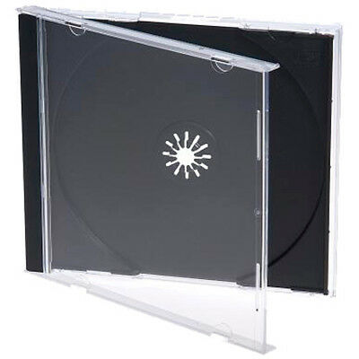 50 x Jewel CD Cases with Black Tray for Single Disc, New