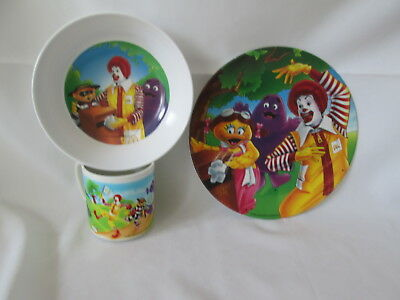 McDonald's~3 piece meal service~McDonaldland cup, bowl and plate~Excellent~1991