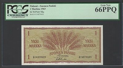 Finland One Markka 1963 P98a Uncirculated Graded 66