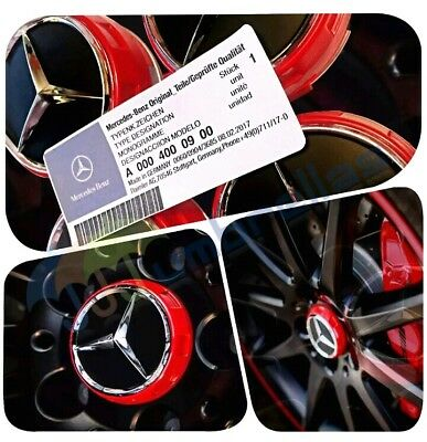 New MERCEDES WHEEL HUB AMG ALLOY CENTRE CAPS - RED/BLACK 75MM A B C E S ML CLASS