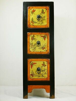 """A Chinese Black Lacquer 3  Drawer Unit Storage Chest Butterfly Painting 28"""" H"""