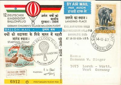 India special Balloon post cover elephant Elefant ft46
