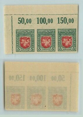 Lithuania 1919 SC 49a MNH imperf strip of 3 . d6695