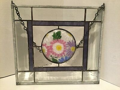 "Vintage Leaded Stained & Beveled Glass Hanging 10"" SIGNED"