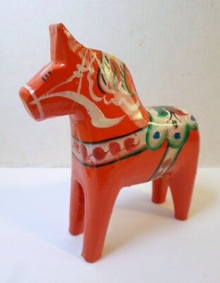 "Swedish RED DALA HORSE 4"" Tall Hand Painted Tillv G A Ollson Nusnas Mora Label"