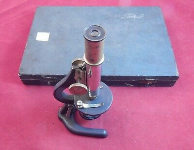 Antique Student Microscope with Box of Slides. Circa 1917