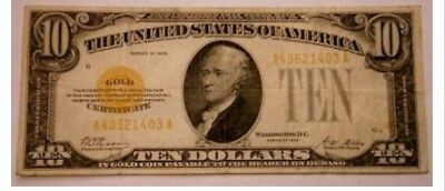 1928 $10 Gold Certificate Bill XF/AU With gold clause