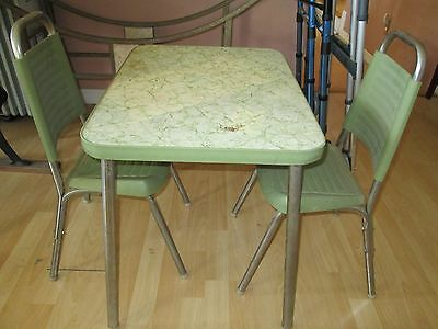 Retro Vintage Chrome 1970's Child size Formica Top table and chairs